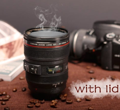 Top 50 Coffee Making Items: Camera Lens Mug With Lid