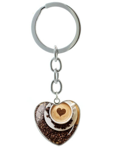 Coffee Cup Printed Heart-Shaped Keychain